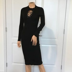Dresses & Skirts - Black lace up sweater dress